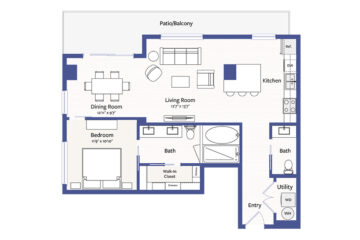 Rendering of the A11 floor plan layout